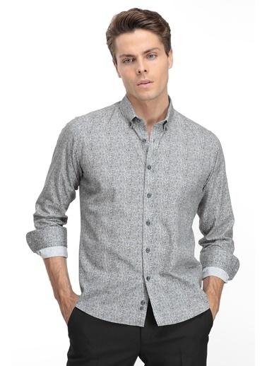 TWN TWN Slim Fit Baskılı Uzun Kollu Erkek Gömlek Gri